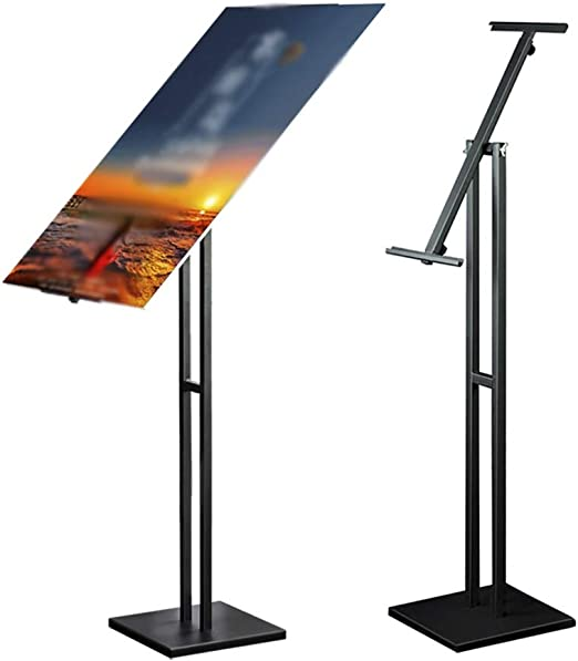 Color : Black, Size : 30 x 150cm Display Stand Double Pole Poster Frame Floor Stand Adjustable Metal Poster Frame Activity Bracket Display Double-Sided Display Poster Display Stand