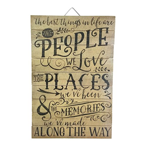 "Imprints Plus The Best Things In Life Are People Wood Sign by, 12"" x 18"" Rustic Home Decor Plaque with Hanger 45-01604"