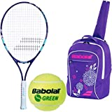 Babolat B'Fly Tennis Racquet Bundled with a Purple/Pink Child's Tennis Backpack and Kids' Play & Stay Training Tennis Balls