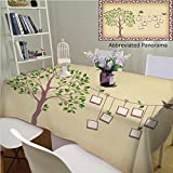 Amavam Unique Custom Cotton And Blend Tablecloths Memories Tree With Photo Frames Insert Your Photos Into Frames Tablecovers For Rectangle Tables In Dining Room Kitchen, 60'' x 84''