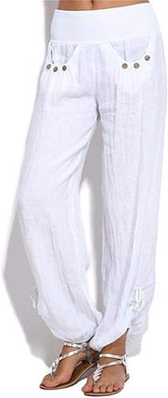 Pantalones Informales para Mujer Pantalones De Algodón De Cintura ...