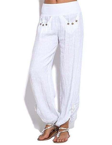 Pantalones Informales para Mujer Pantalones De Algodón De ...