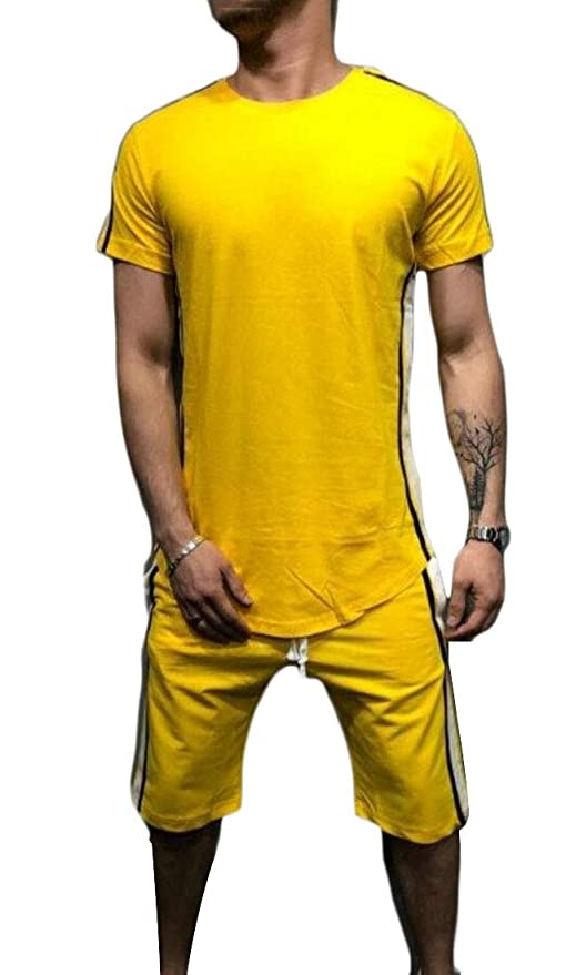 452f6c6956da ouxiuli Men Casual Loose Solid Short Sleeve T Shirt Pants 2 Piece Outfits  at Amazon Men s Clothing store