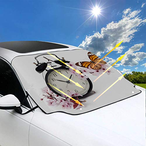MBVFD SUV Sunshade Clock with Blossoms and Butterfly Windshield Cover for Car 57.9x46.5 Inch(147cmx118cm) for Most Vehicles by Protect The Windshield and Wiper from Sun,ice,Snow,Frost Blossoms And Butterflies Clock