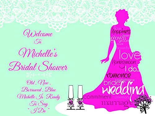 Custom Fashion Bridal Shower Bride Dress with Words Letters Party Poster - sizes 36x24, 48x24, 48x36; Personalized Wedding Bridal Shower Home Decorations, Handmade Party Supply Photo Booth (Homemade Halloween Photo Backdrops)