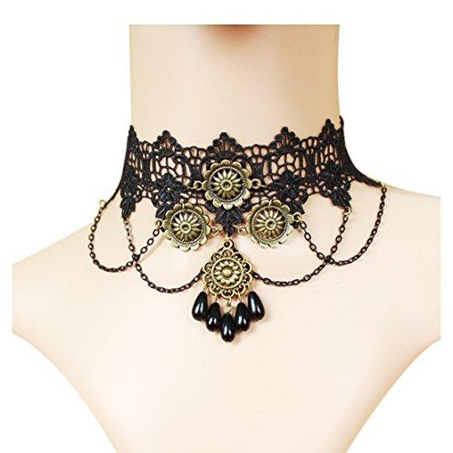 Manson Girl Halloween Costume (Time Pawnshop Gothic Retro Sunflower Drop-shape Black Lace Elegant Choker Necklace)
