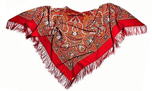 LAURA russe écharpe rouge 100 %  laine et cachemire à franges haute qualité avec étole 100 %  original, de très bonne qualité