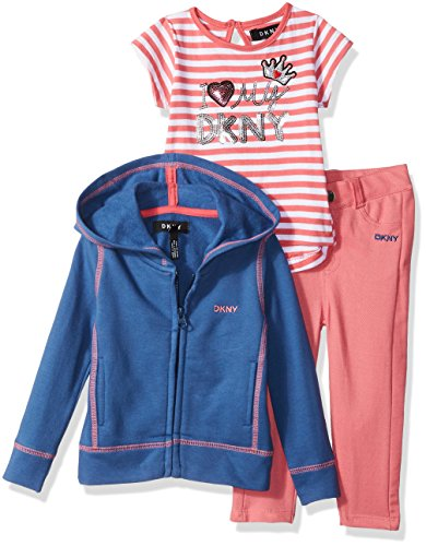 DKNY Baby Girls 3 Piece I'm So Fancy T-Shirt, Hoodie, and Pant Set, True Navy, 18M -