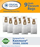9 Kenmore 50688 50590 Allergen Filtration Vacuum Bags Fit Also Panasonic U-2, and Miele Upright Type Z vacuum cleaners; Compare to Kenmore Upright Part # 50688; Designed and Engineered By Crucial Vacuum, Appliances for Home