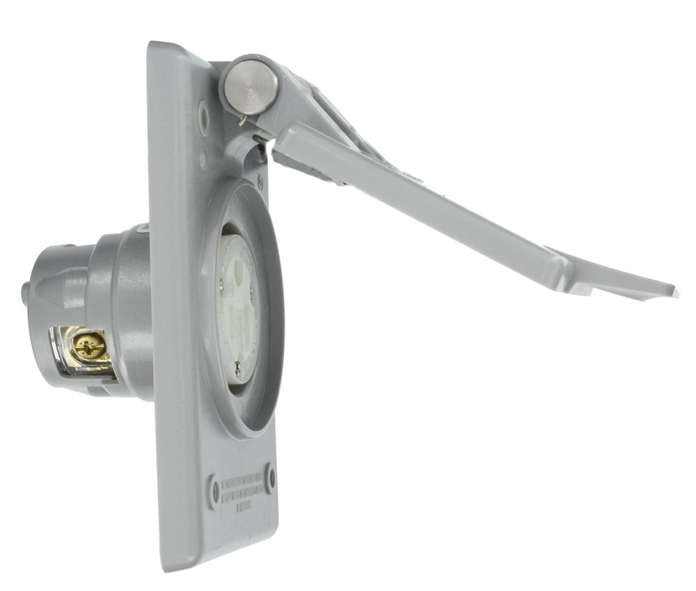 Leviton 5279-CWP 15 Amp, 125 Volt, Power Outlet Receptacle, Straight Blade, Industrial Grade, Grounding, Gray