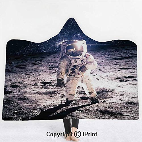 """Outer Space Decor 3D Print Soft Hooded Blanket Boys Girls Premium Throw Blanket,Moon Spaceman on Surface of Orbit Background Cosmos Galaxy Solar Photo,Lightweight Microfiber(Kids 50""""x60"""") Brown Blue"""