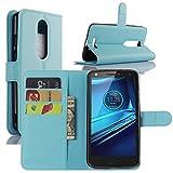 DROID Turbo 2 casos, cartera de piel sintética con tapa funda con función atril para tarjetero para Motorola DROID Turbo 2 Verizon/Moto x 2015 fuerza teléfono inteligente