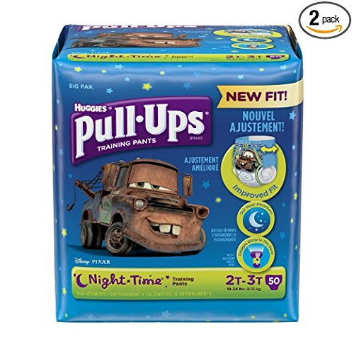Pull-Ups Night-Time Potty Training Pants for Boys, 2T-3T (18-34 lb.), 50 Ct, PACK OF 2 (100 total pants) (Packaging May Vary) by Pull-Ups