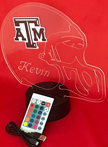Texas A&M Aggies NCAA College Football Helmet Light Lamp Light Up Table Lamp LED with Remote, Our Newest Feature - It's Wow, with Remote 16 Color Options, Dimmer, Free Engraving, Great Gift