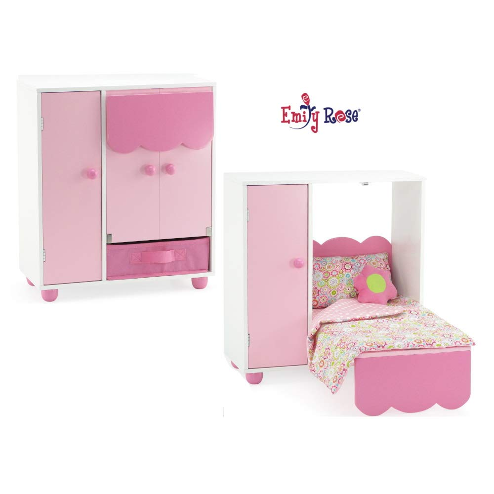 "Emily Rose 18 Inch Doll Furniture for American Girl Dolls | All in One Space Saving Murphy Doll Bed with Doll Closet and Doll Clothes Storage Bin | Fits 18"" American Girl Dolls"