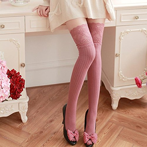 Winter Sokken, Eg Mijn Vrouw Meisje Winter Over Knie Been Warmer Zachte Katoenen Kanten Sokken Legging Roze