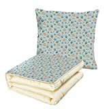 iPrint Quilt Dual-Use Pillow Baby Infant Head with Balloons Pacifiers and Milk Bottles Newborn Inspired Decorative Multifunctional Air-Conditioning Quilt Baby Blue Turquoise Tan