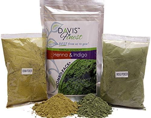 Davis Finest - Tinte para el Cabello, juego de 100 g de polvo de henna y 100 g de polvo de índigo, tinte natural para cabello o barba, marrón/negro, ...
