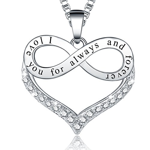 Ado Glo Christmas Girlfriend Birthday Gift, I Love You for Always and Forever Infinity Heart Pendant Necklace, Fashion Jewelry for Women Girl, Anniversary Xmas Present to Her Sister Daughter Mom Wife