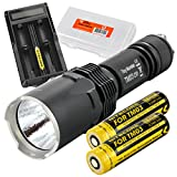 Nitecore TM03 CRI Super Bright 2600 Lumens Cree XHP70 LED Flashlight PLUS 2x Dedicated IMR 18650 Rechargeable Batteries, Nitecore UM20 Charger, & LumenTac Battery Organizer