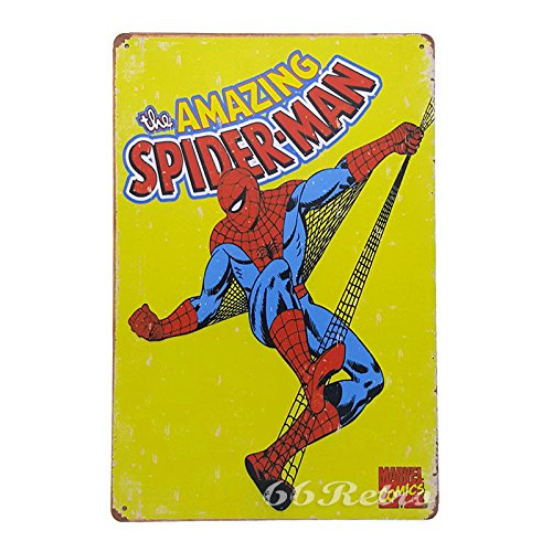 66Retro The Amazing Spider-man (yellow), Vintage Retro Metal Tin Sign, Wall Decorative Sign, 20cm x 30cm