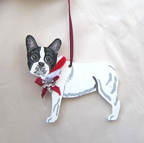French Bulldog Pied (Hand-Painted FRENCH BULLDOG PIED w/Bow Wood Christmas Ornament Artist Original)