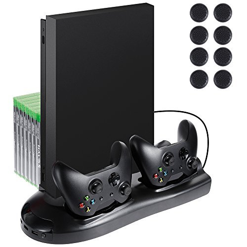 Lictin Xbox One X Vertical Stand Cooling Fan with Dual Charging Station for Xbox One X Controller 7...