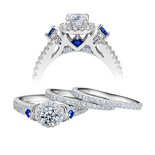 - Newshe Wedding Engagement Ring Set For Women 925 Sterling Silver 3pcs 2ct Round White Cz Size 9
