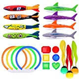 R ? HORSE 21 PCS Underwater Swimming/Diving Pool Toy Set, Diving Rings, Toypedo Bandits, Diving Toy Balls, Under Water Treasures Gift, Diving Shark toy, Dive Gift for Children Kids