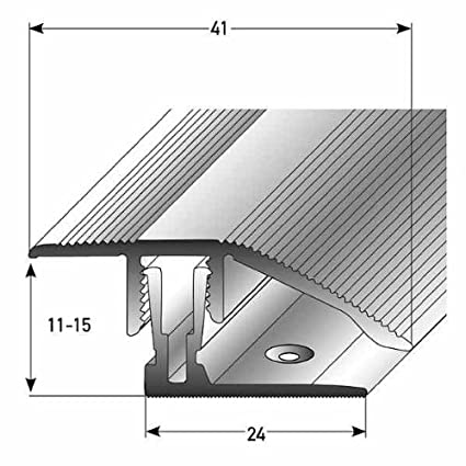 (Système de clic) Seuil d'adaptation / de compensation, 11 - 15 mm de haut, 41 mm de large, 2-pièces, Aluminium anodisé, y compris vis, couleur: argent Auer