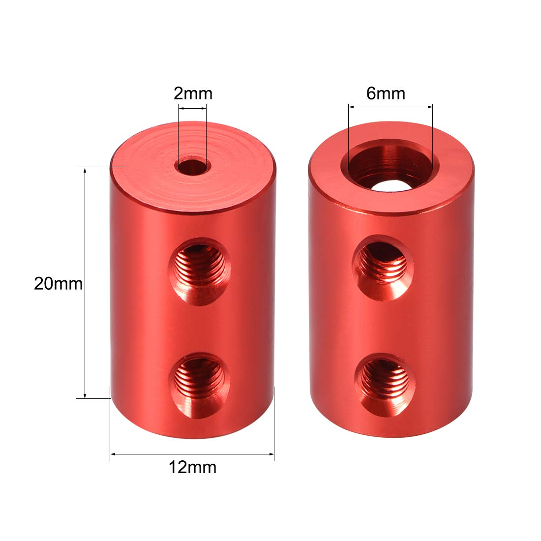Shaft Coupling 2-6mm to 2-6mm Bore L20xD12 Robot Motor Wheel Rigid Coupler Red