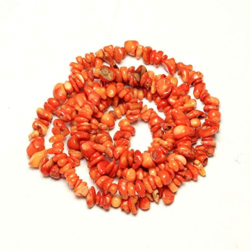 (Calvas Wholesale Gravel Shape Dye Orange Natural Coral 5-8 mm Stone Beads for Jewelry Making DIY Bracelet Necklace Strand 34'' - (Item Diameter: About 5 to 8 mm))
