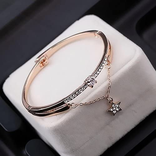 sz Double-Pointed Star Bracelet, Rose Gold fortunately Five-Pointed Star Diamond Crystal Bracelet Bangle Unique Fashion Personality Women Girls Opening Jewelry