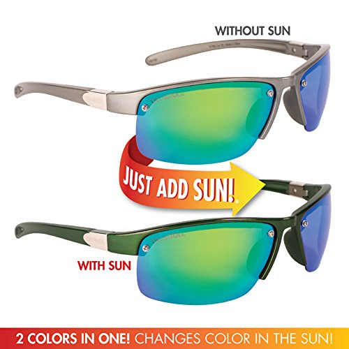Solize Color-Changing Polarized Sunglass by Del Sol - Lifetime Protection Against Theft, Loss or Damage (In My Car - Charcoal to Green, Del Sol Revo - Sun In Color Sunglasses The Change