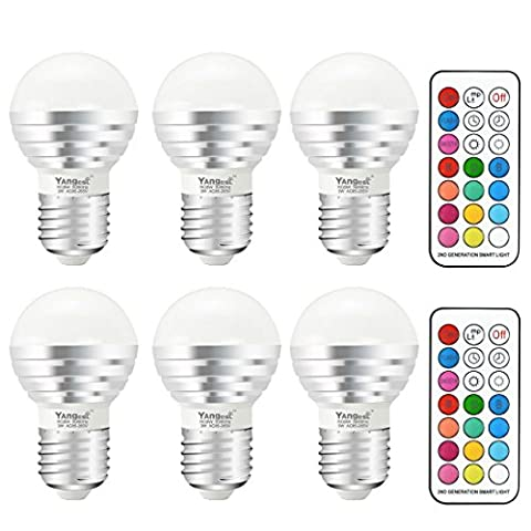 Yangcsl 3W Timing Remote Controller RGBW Color Changing LED Light Bulbs, Double Memory and Wall Switch Control, RGB + Daylight White, 20W Incandescent Bulb Equivalent (Pack of - 3 Color Led