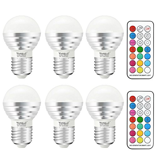 Timing Controller - Yangcsl 3W Timing Remote Controller RGBW Color Changing LED Light Bulbs, Double Memory and Wall Switch Control, RGB + Daylight White, 20W Incandescent Bulb Equivalent (Pack of 6)