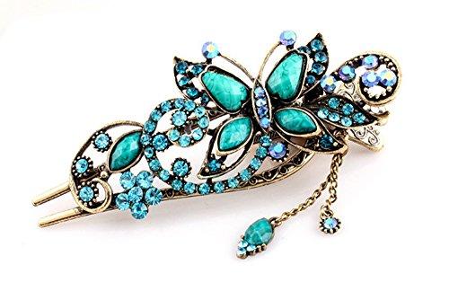 BEYLEG® Blue Women's Vintage Crystal Butterfly Hair Clip Head Wear BE-03