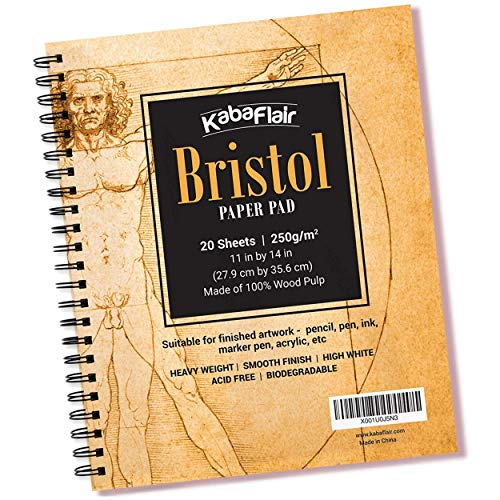 Bristol Paper Pad - 20 Sheets - Smooth Surface - Biodegradable - High White - Wire Bound - Heavy Weight - for Drawing, Painting, Scanning, Printing, Sketching - Works with - Vellum Flair