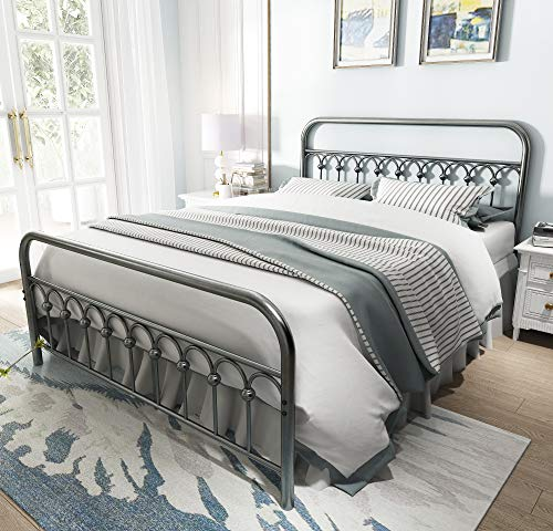 Vintage Sturdy Queen Size Metal Bed Frame with Headboard and Footboard Basic Bed Frame No Box Spring Needed (Queen, Gray Silver) (Sale Upholstered Cheap Headboards)