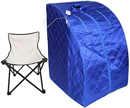 Smartmak Portable Far Infrared Sauna, EMF FIR One Person at Home Full Body SPA Tent with Heating Foot Pad and Portable Chair – Blue