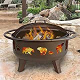 Landmann 23875 Fire Dance Bear and Paw Fire Pit, 30-Inch, Metallic Brown For Sale