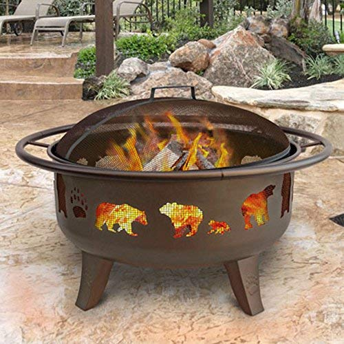 (Landmann 23875 Fire Dance Bear and Paw Fire Pit, Metallic Brown)