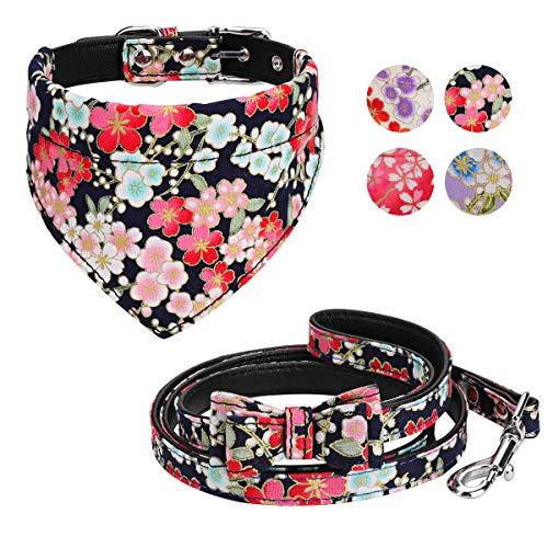 Vaburs Dog Collar Dog Bandana and Dog Leash Set Adjustable Fancy Dog Collar with Bandana and Leash for Small Medium…