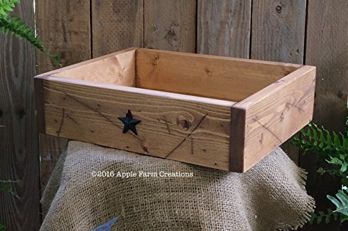 Handmade Large Distressed Wooden Valet Tray with Metal Barn Stars