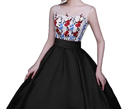 Noble 3D Lace Flower Backless Lace Up Satin A-Line Prom Dress Prom Gown Black