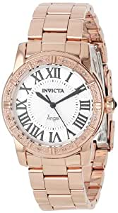Invicta Women's 14375 Angel Silver Dial Diamond-Accented 18k Rose Gold Ion-Plated Stainless Steel Watch