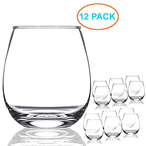 Chef's Star 15 Ounce Shatter-Resistant Stemless Wine Glass Set (12 Pack)