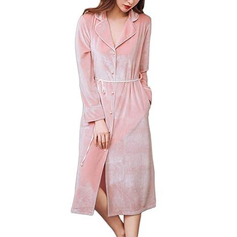OLLIUGE Pijamas para Mujer Albornoces De Lujo De Las Señoras Terciopelo Suave Pijamas Largos Camisón Robe