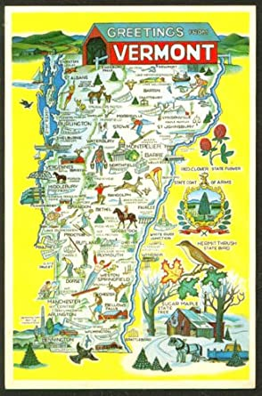 Greetings from Vermont Map postcard 46670 1950s VT at ...