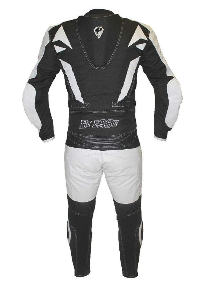 color negro//rojo Traje de moto para adulto de piel y tela BIESSE divisible en 2 piezas ajustable chaqueta y pantal/ón con protecciones CE XL azul//negro tallas XS-4XL negro//azul y blanco//rojo